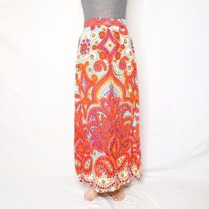 VINTAGE 60s Ornate Color Pattern Maxi Skirt